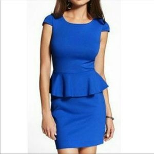 Express bright blue peplum dress